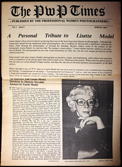 """The PWP Times"" issue dedicated to Lisette Model, image ©Stephanie Cohen"