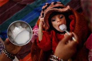 A malnourished toddler is fed at a feeding center in central India ©Ruth Fremson/The New York Times