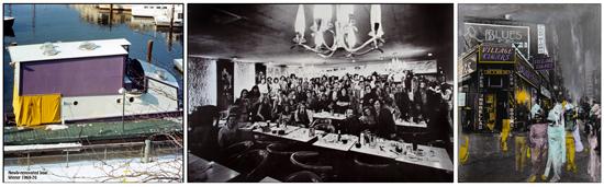 FFP Boat, 1972 ©FFP | FFP Market Diner Bash, 1972, ©Neal Slavin | Village Cigars ©Maggie Sherwood