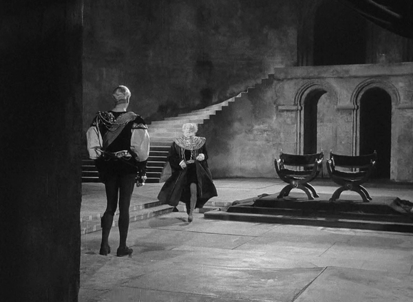 "Laurence Oliver and Felix Aylmer in the 1948 film version of ""Hamlet"""