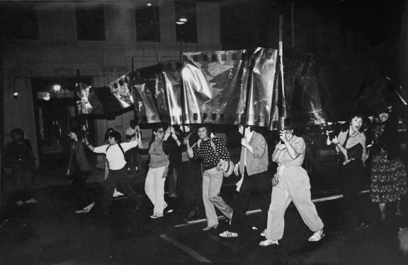 PWP group marching in the 1983 Art Parade ©Stephanie Cohen