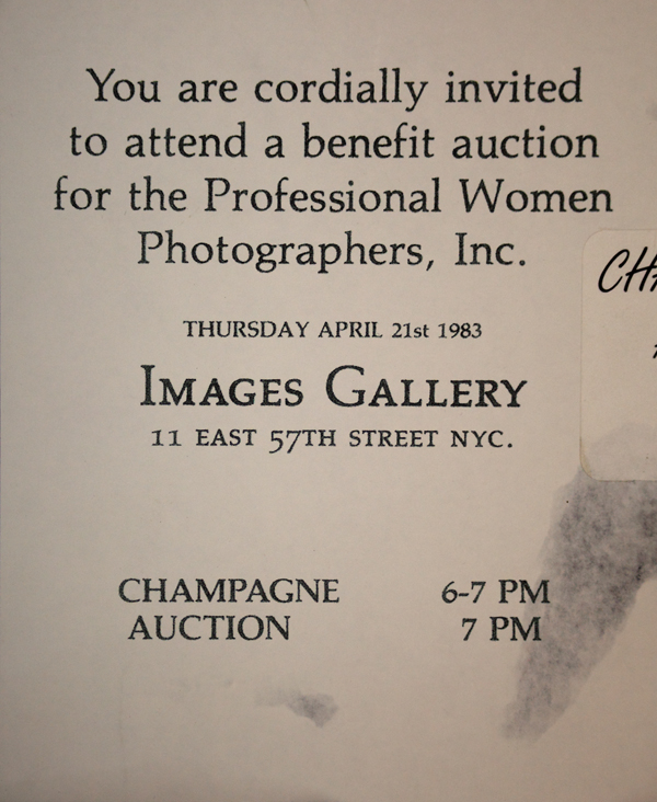 Invitation for 1983 PWP benefit auction at Images Gallery