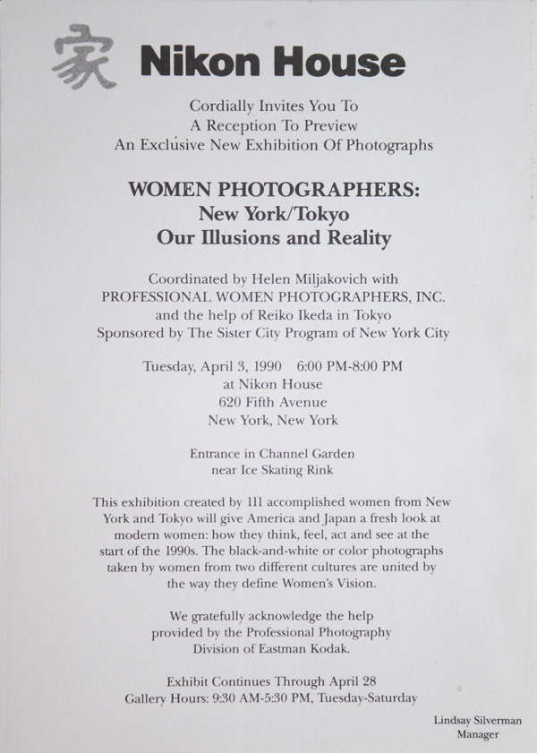 Invitation to the Women Photographers exhibition at Nikon House