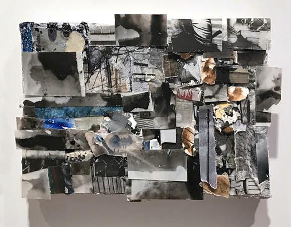 "Detail of ""On the Horizon,"" mixed media on canvas, 2017, ©Etty Yaniv"
