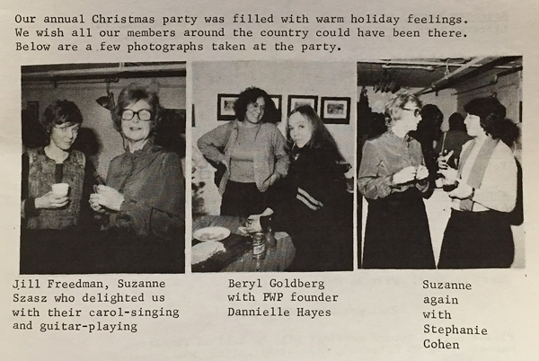 A late 1970s or early 1980s PWP newsletter with images of a PWP holiday party