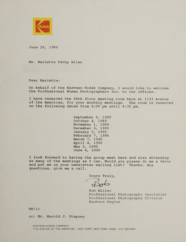 1989 Letter from Kodak confirming meeting space for PWP
