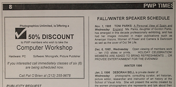 Ad for a computer workshop at Photographics Unlimited