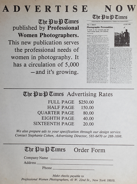 "Early 1980s ad rates for ""The PWP Times"""