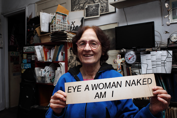 Dianora Niccolini in 2015 with sign from her earlier show ©C Kirkpatrick