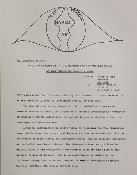 """Eye a Woman Naked Am I"" press release"