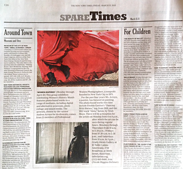 PWP Women Inspired exhibition in the New York Times