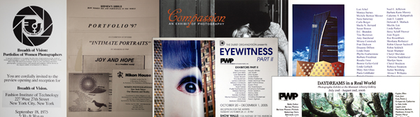 Invitation for the Breadth of Vision Show at FIT (left) and for PWP shows over the years