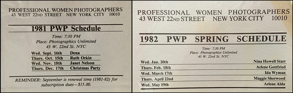 PWP speaker schedules for the 1981-82 season