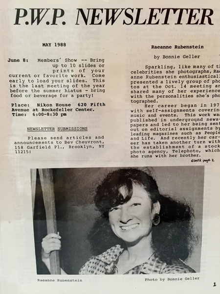 1988 Pwp Newsletter Recounting Raeanne Rubinstein S Talk