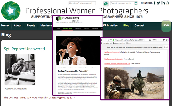 Screen shots of the PWP Blog and Photoshelter Blog featuring PWP's article on Jane Hoffer
