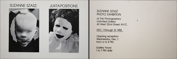 "Postcard for PWP member Suzanne Szasz' exhibition ""Juxtapositions"" in 1982"