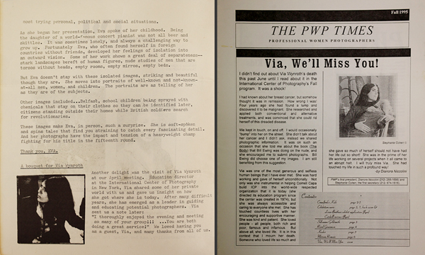 Early PWP Newsletter featuring Via Wynroth's talk (left); later article remembering Wynroth's life (right)