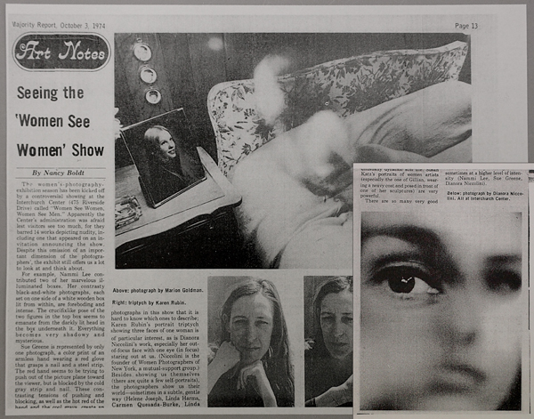 """Vajority Report"" review of ""Women See Women"" show, inset image by Dianora Niccolini"