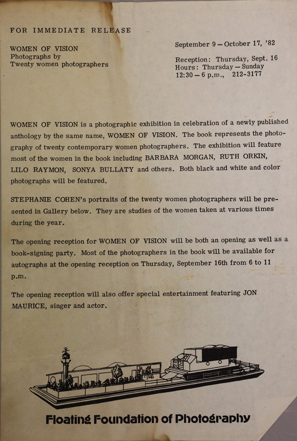 1982 press release for book signing and exhibition at the Floating Foundation of Photography